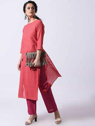 Red Handloom Cotton Kurta with Tassels