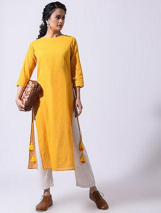 Yellow Handloom Cotton Kurta with Tassels