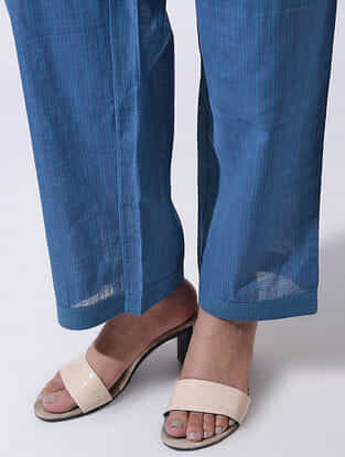 Blue Tie-up Waist Handloom Cotton Pants