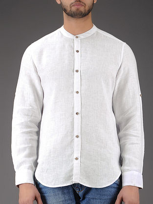 White Mandarin Collar Full Sleeve Linen Shirt