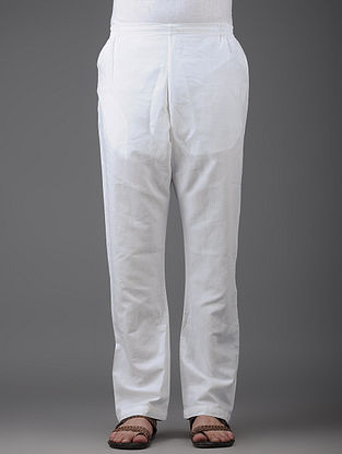 White Elasticated Waist Cotton Pants