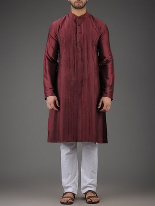Maroon Mandarin Collar Full Sleeve Viscose Kurta