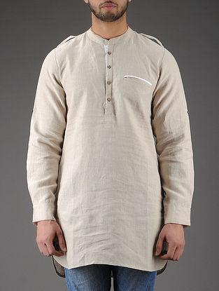 Ivory Mandarin Collar Full Sleeve Linen Kurta