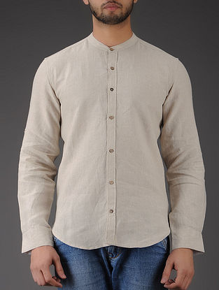 Ivory Mandarin Collar Full Sleeve Linen Shirt