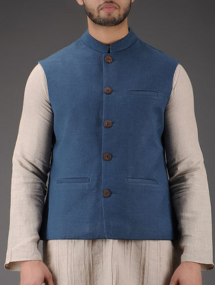 Blue Mandarin Collar Linen Jacket