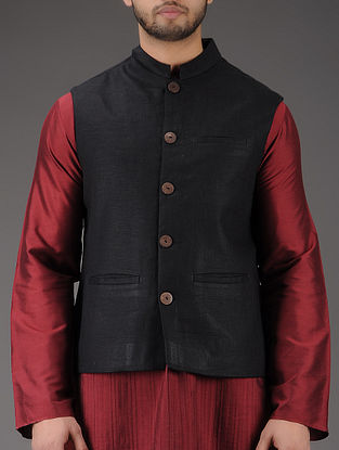 Black Mandarin Collar Linen Jacket