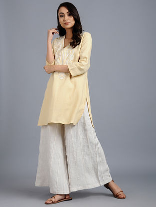 Yellow Embroidered Linen Tunic