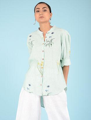 Aqua Botanical Linen Shirt