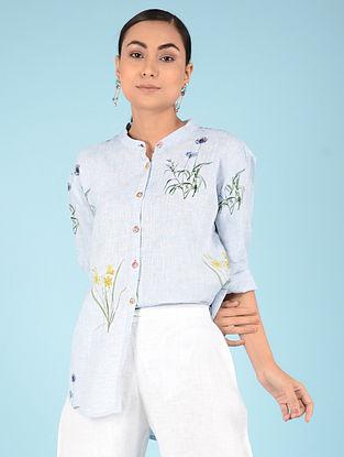Pale Blue Botanical Linen Shirt