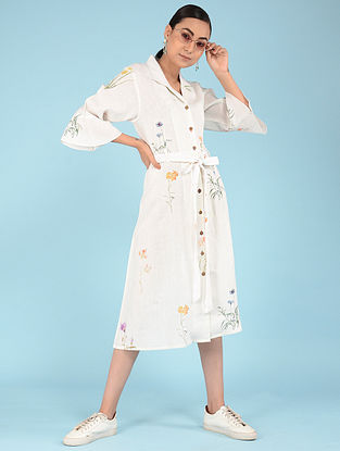 Ivory Botanical Linen Dress