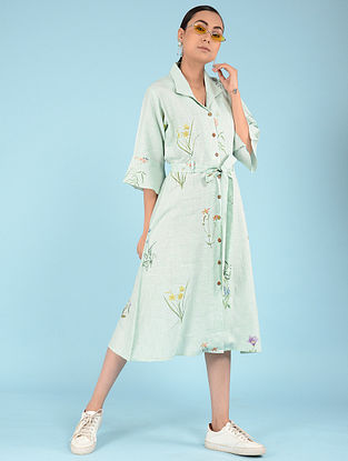 Aqua Botanical Linen Dress