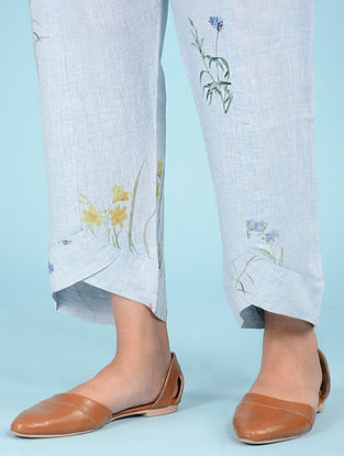 Pale Blue Botanical Linen Pants
