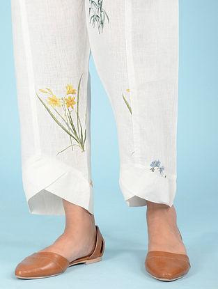 Ivory Botanical Linen Pants