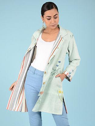 Aqua Hand-embroidered Linen Jacket