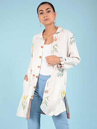 Ivory Hand-embroidered Linen Jacket