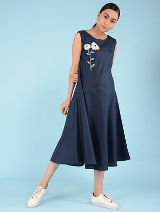 Navy Hand-embroidered Linen Dress