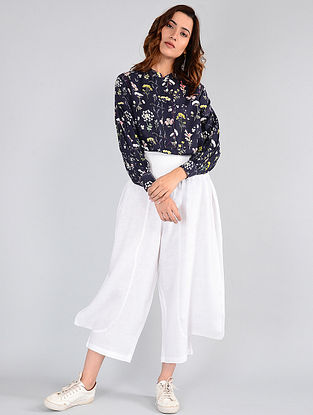 Navy Floral-printed Cotton Top