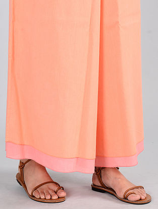 Coral-Peach Reversible Cotton Palazzos