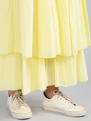 Lime Pleated Cotton Skirt