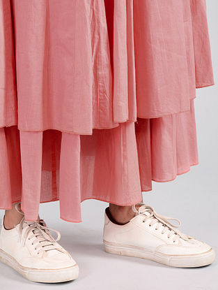 Coral Pleated Cotton Skirt