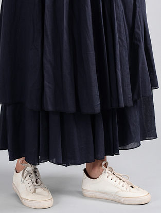 Navy Pleated Cotton Skirt