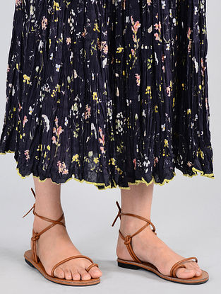 Navy Floral-printed Cotton Skirt