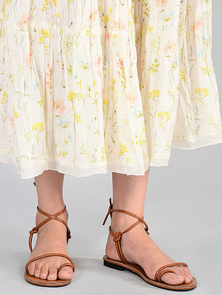 Ivory Floral-printed Cotton Skirt