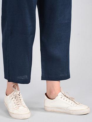 Navy Drawstring-waist Linen Pants