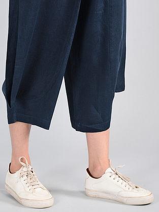 Navy Elasticated-waist Linen Pants