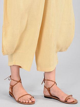 Yellow Elasticated-waist Linen Pants