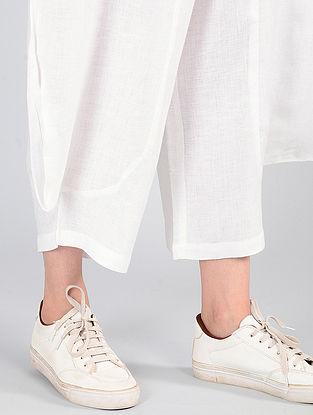 White Elasticated-waist Linen Pants