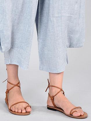 Pale Blue Elasticated-waist Linen Pants