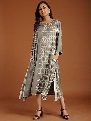 Andrea Ivory Shibori Cotton-Silk Dress
