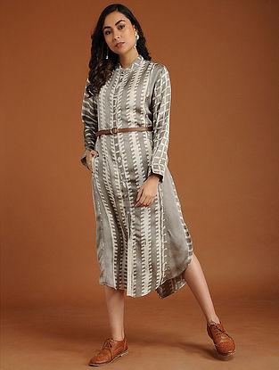 Lindsay Ivory Shibori Cotton-Silk Dress