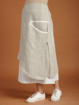 Mandy Ivory Layered Linen Skirt