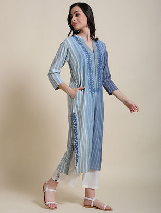 Ish Ombre Stripe Embroidered Kurta