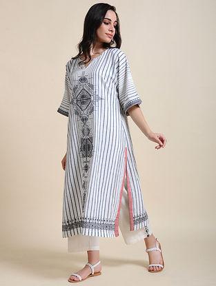 Zia Stripe Embroidered Cotton Kurta