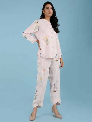 Mae Pink Botanical Printed Linen Shirt