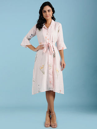 Grace Pink Botanical Printed Linen Wrap Dress