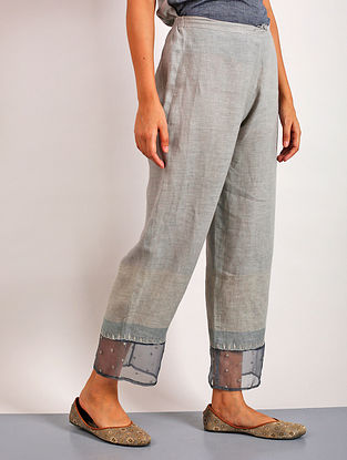 Sanoh Grey Embroidered Linen Pants