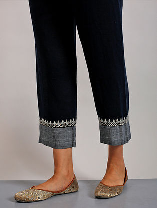 Suda Navy Hand Embroidered Linen Pants with Gota Details