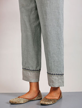 Suda Grey Hand Embroidered Linen Pants with Gota Details