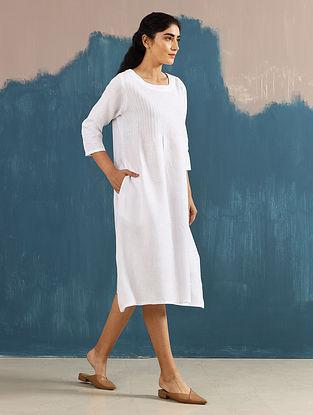 Serene Ivory Pintucks Linen Dress