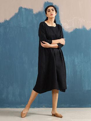 Serene Black Pintucks Linen Dress