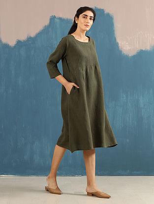 Serene Olive Pintucks Linen Dress