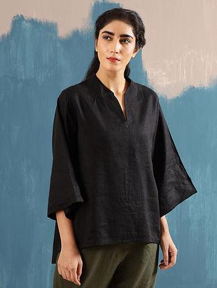 Kaiya Zen Black Linen Top