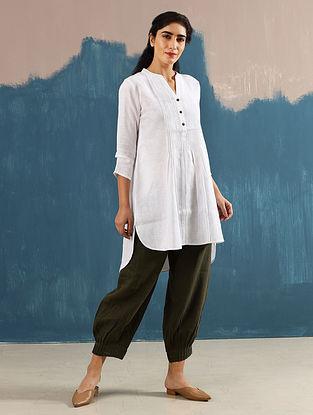 Satori Ivory Pleated Linen Top