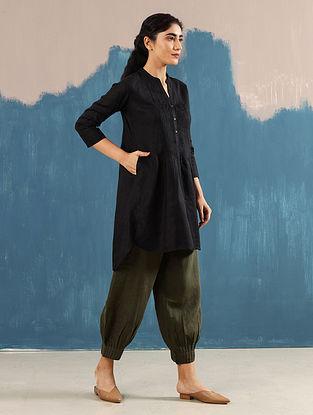 Satori Black Pleated Linen Top