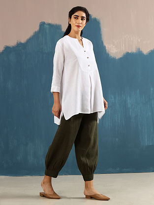 Roshi Ivory Linen Top