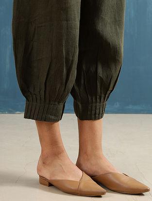 Lenora Olive Pintucks Linen Pants